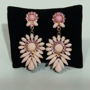 Pale Pink and Gold Color Fashion Earrings NWT
